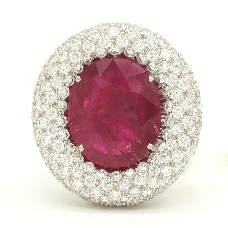 Glittering Ruby And Diamond Cocktail Ring - Item # R-HC-0010 - Reliable Gold Ltd.